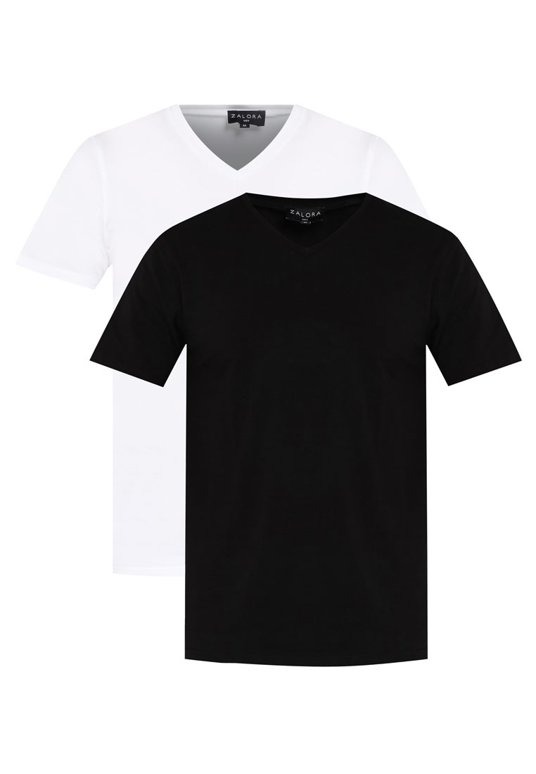Short Pack Cotton White ZALORA Neck 2 V Black Sleeve Tee dIfawa6qv