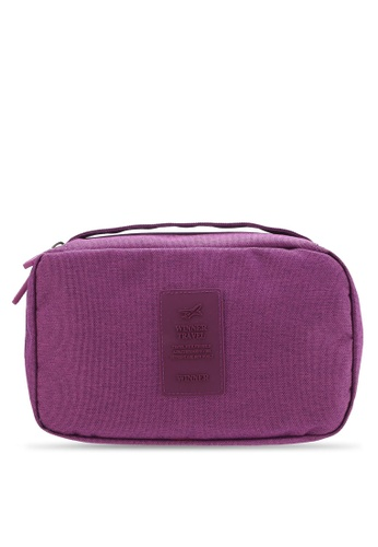 Bagstationz purple Lightweight Water Resistant Travel Toiletries Pouch BA607AC26QNXMY_1