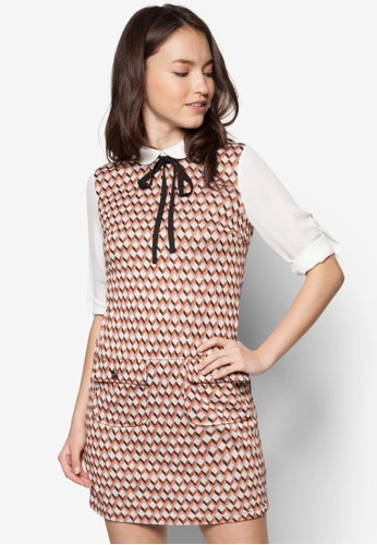 Petite 2In1 Orange Geometric Pinny zalora taiwan 時尚購物網Dress, 服飾, 短洋裝