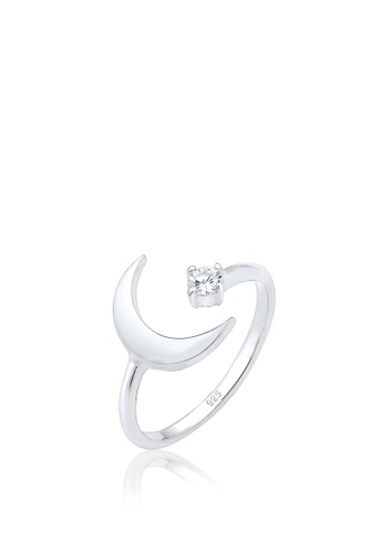ELLI GERMANY silver Elli Germany Ring Adjustable Crescent Astro Basic Zirconia Sterling Silver DA91AACEC79D8EGS_1