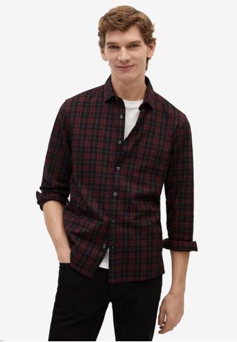 Mango Man red Regular Fit Checked Flannel Shirt EE763AA691D1F2GS_1