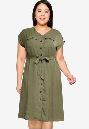 Dorothy Perkins green Plus Size Khaki Shirt Dress 4244AAA61EA584GS_1