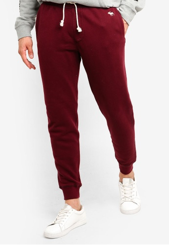 Abercrombie & Fitch 紅色 品牌logo休閒棉褲 EC51DAA4DB8AFFGS_1