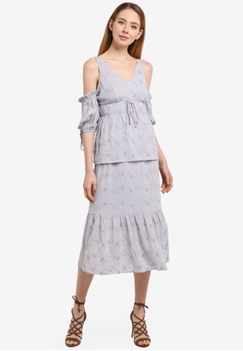 LOST INK grey Embroidered Puff Sleeve Midi Dress 8FE4BAA02079DAGS_1