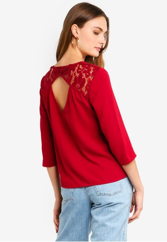 Vero Moda red Ricky 3/4 Button Top D01B3AA12C5FB4GS_1