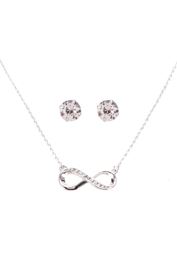 Infinity Necklace And Earrings Set With Swarovski Crystals