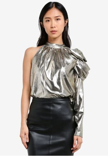 River Island One Shoulder Gold Top RI009AA0S9TCMY_1