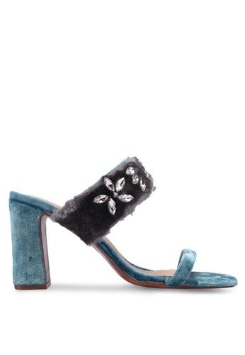 Velvet 藍色 鑽飾絨毛高跟鞋 983C7SHD815C9FGS_1