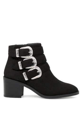 London Rag black Black Stylish Zipper and Buckle Closure Ankle Boots SH1728 B7E72SH3F4C7D8GS_1