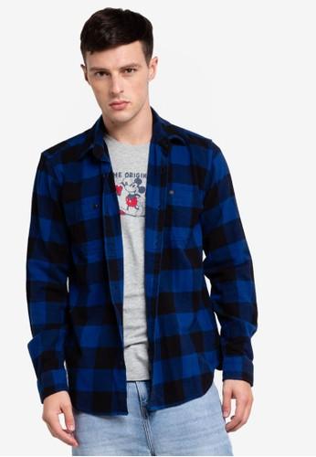 GAP blue Midweight Flannel Shirt 6F570AA2699D59GS_1