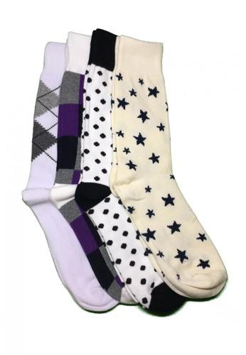 M-Wanted multi M. My Daily Socks-tual Assorted Pattern Socks 4 Pack - One size MW173AA38UZHSG_1