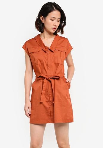 ZALORA orange Sleek Satin Utility Dress 3FBDEAADDC6105GS_1
