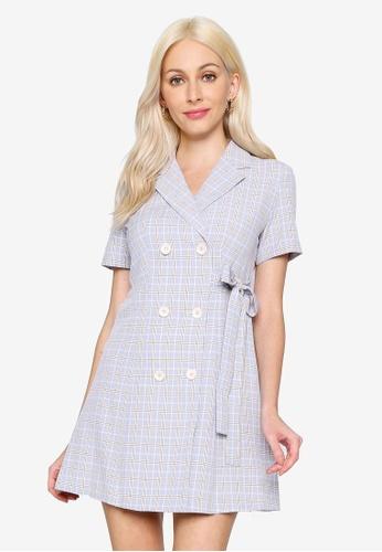 Hopeshow blue V-Neck Double Breasted Checkered Mini Dress 2BA49AA94BEF58GS_1