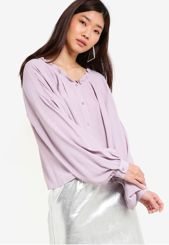 TOPSHOP purple Frill Collar Shirt TO412AA75PWQMY_1