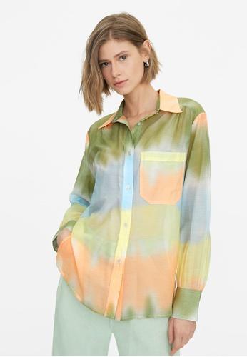 Pomelo multi Buttoned Tie Dye Shirt - Multicolor C7FC0AAE100F98GS_1