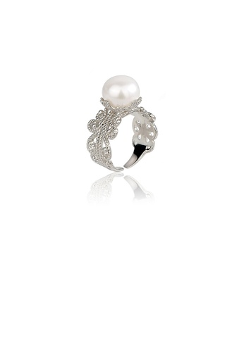 Glamorousky white 925 Sterling Silver Simple and Elegant Hollow Pattern Freshwater Pearl Adjustable Open Ring 038ECAC161336CGS_1