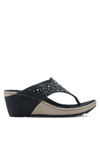 Bata 黑色 鑽飾夾腳楔型涼鞋 ED9ABSH60201FAGS_1