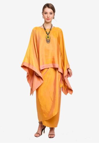 Yans Creation brown and yellow Anggun Square Kaftan Set 8D254AA80D6A0EGS_1