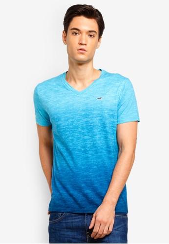 Hollister blue V Neck Ombre T-Shirt DC9E3AA13A6948GS_1