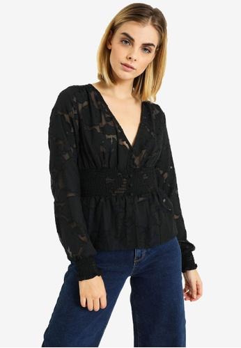 PIMKIE black Shirred Waist V Neck Top 578BBAA8DD909AGS_1