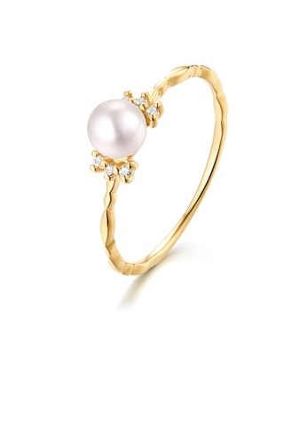 SUNSET gold Premium 18K Gold Pearl Ring AABBCACE4E9039GS_1