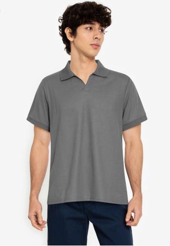 ZALORA BASICS green Henley Polo Shirt 01FB2AA2D3BA6FGS_1
