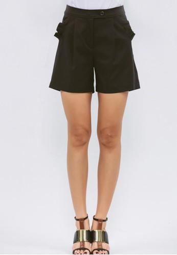 黑色口袋荷葉裝飾短褲, 服飾, 西裝短尖沙咀 esprit outlet褲