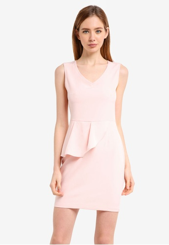 ZALORA pink Peplum Dress 10002AA1809687GS_1