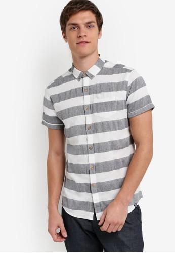 條esprit門市地址紋短袖襯衫, 服飾, 襯衫