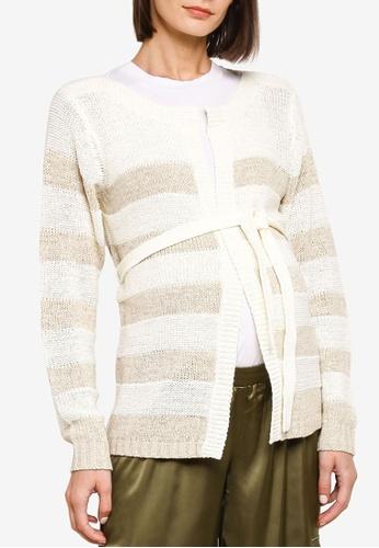 Mama.licious white Maternity Sandy Long Sleeve Knit Cardigan 623C6AA8EAF968GS_1