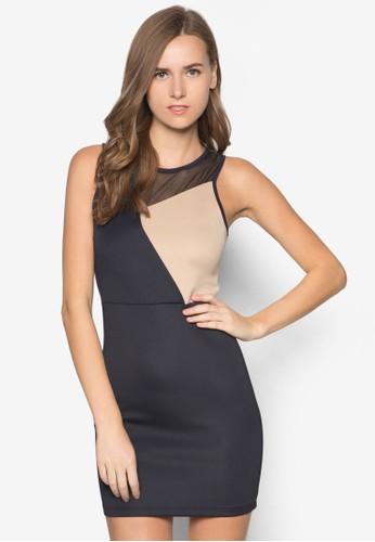 色塊拼接zalora時尚購物網評價無袖洋裝, 服飾, 洋裝