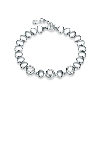 Glamorousky white 925 Sterling Silver Simple Elegant Oval Cubic Zircon Bracelet FF048ACE9D9948GS_1