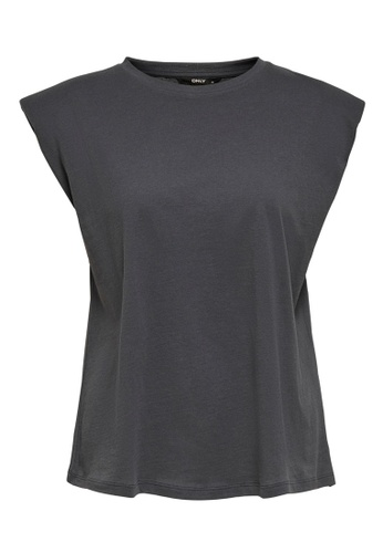ONLY grey Pernille Shoulder Pads Tee 7F474AAABFDF92GS_1