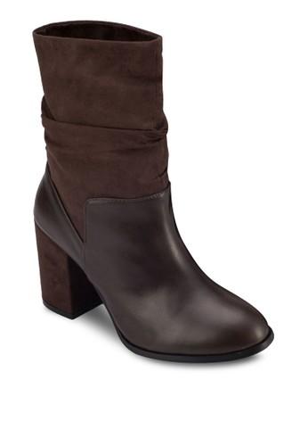 牛皮粗跟zalora taiwan 時尚購物網短靴, 女鞋, 靴子