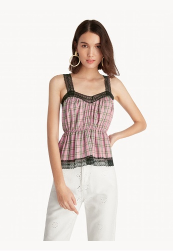 Pomelo pink Ruched Plaid Lace Cami Top - Pink 5D3F6AAF4EC02FGS_1
