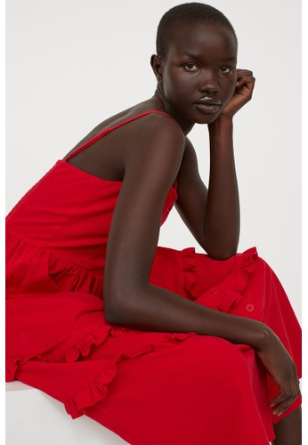 H&M red Crêpe dress 18856AA2FF3757GS_1