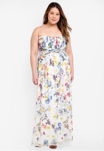 Little Mistress multi Plus Size Floral Bandeau Maxi Dress 6BE48AA5B75825GS_1