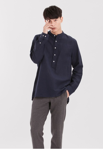 H:CONNECT navy Henry Collar Flax Shirt 77F86AA4194FB2GS_1