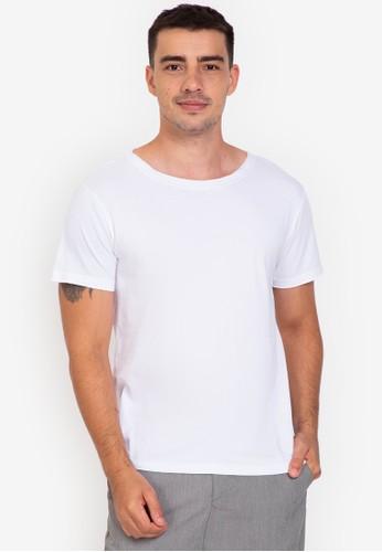 ZALORA BASICS white Raw Edge Wide Neck T-shirt 4036DAA5D33BF7GS_1