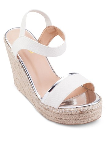 麻編esprit 衣服楔型跟涼鞋, 女鞋, 鞋