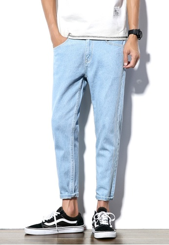 hk-ehunter blue Men Solid Cropped Jeans 4DAB8AAA56A13EGS_1