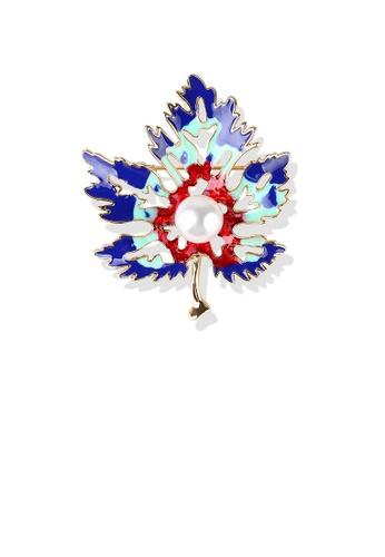 Glamorousky white Fashion and Elegant Plated Gold Enamel Color Maple Leaf Imitation Pearl Brooch 512A6AC0CBA92CGS_1