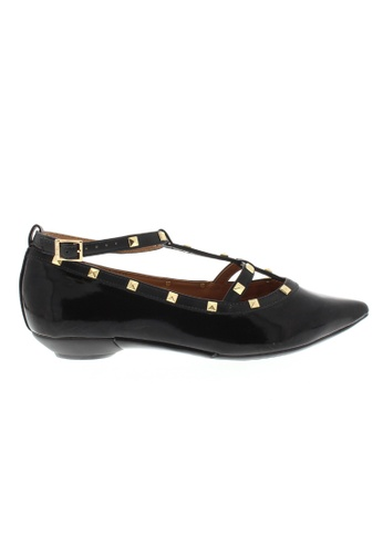 Beira Rio black Studded Patent Pointed Flats BE995SH25XFEHK_1