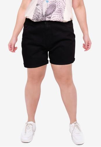 Vero Moda black Plus Size Nineteen High Waisted Shorts EA8A7AAEB8F188GS_1