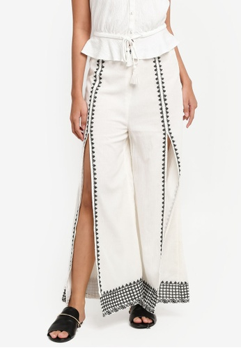TOPSHOP white Embroidered Front Split Trousers 2700EAADFFBDB7GS_1