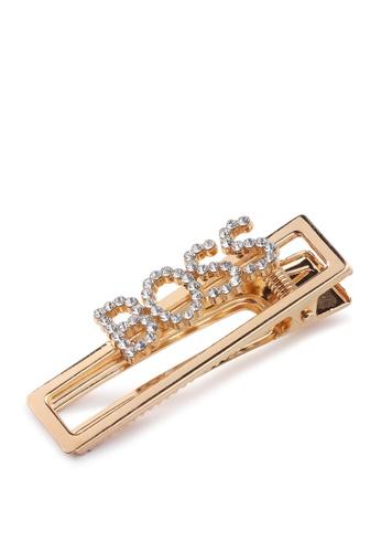 London Rag gold Embellished Boss Hair Clip B723FACB7AECA4GS_1