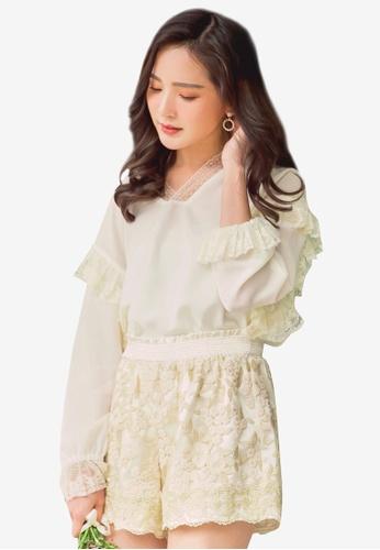 YOCO white Lace Ruffles Blouse 106A9AAB5A68AEGS_1