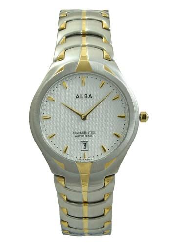 ALBA Jam Tangan Pria - Silver Gold White - Stainless Steel - AVKB28