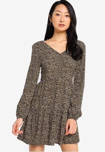 ZALORA BASICS multi Long Sleeve Tiered Dress 6A71DAA47200BCGS_1