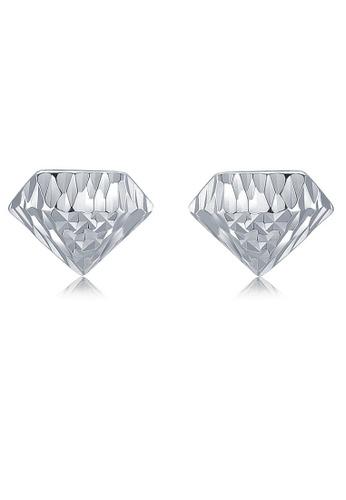 MaBelle silver 14K 585 White Gold Diamond Shape Stud Earrings 6D6C3AC32E9B6DGS_1
